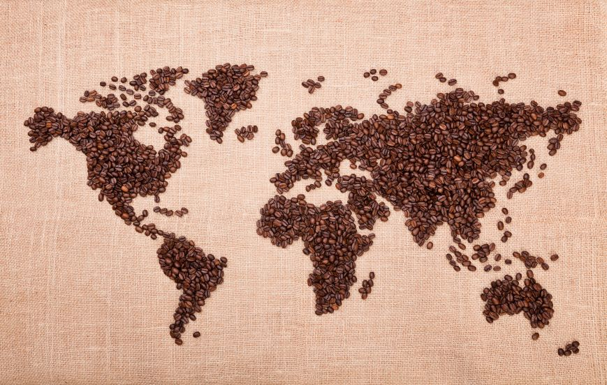 World map of coffee