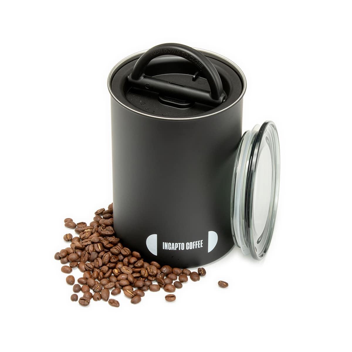 Recipiente de almacenamiento de café en grano color negro 500 gramos